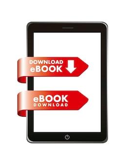 Ebook download over white background vector illustration