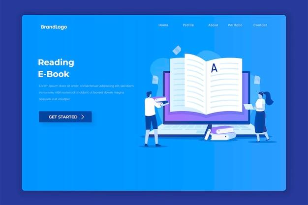 웹 사이트 방문 페이지에 대한 전자 책 읽기 그림 개념