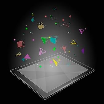 Ebook tablet pc виртуальная реальность визуальное воображение ум эффект. низкополигональная полигональная