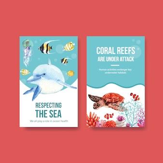 Progettazione del modello del libro elettronico per il concetto di giornata mondiale degli oceani con il vettore dell'acquerello degli animali marini, delfino, del pesce e della tartaruga
