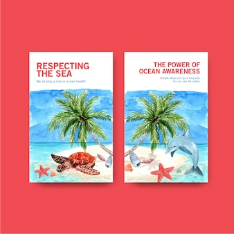 Ebook template design for world oceans day concept with marine animals,starfish,dolphin and turtle on island watercolor vector