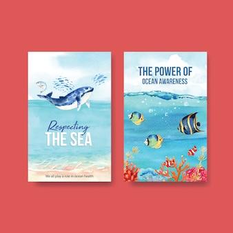 Progettazione del modello del libro elettronico per il concetto di giornata mondiale degli oceani con il vettore dell'acquerello degli animali marini, della balena e dei pesci