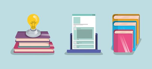 Ebooks laptop and light bulb