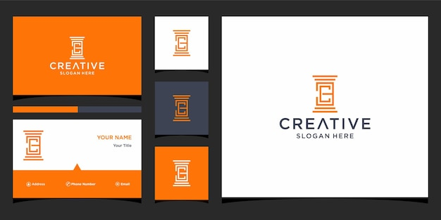 Ec law firm logo design with bussines card template