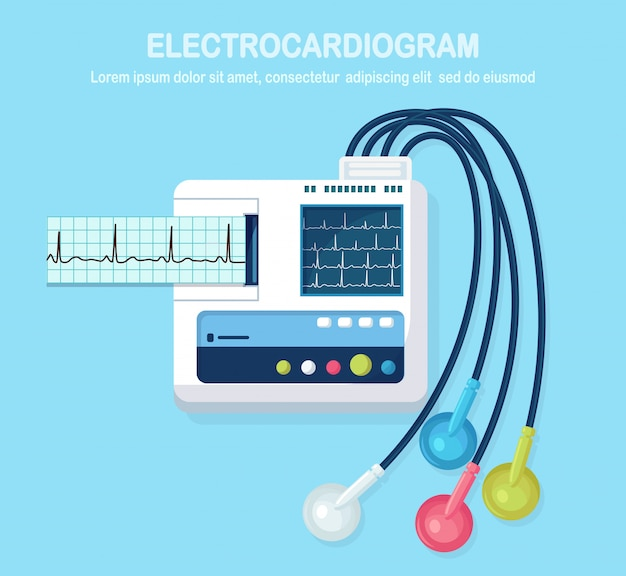 Ecg machine isolated on background. electrocardiogram monitor for diagnosis human heart with ekg graph. medical equipment for hospital with chart of heartbeat rhythm.