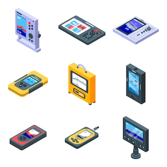 Echo sounder icons set, isometric style