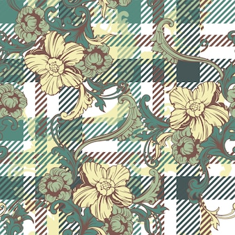 Eclectic seamless pattern with baroque ornament