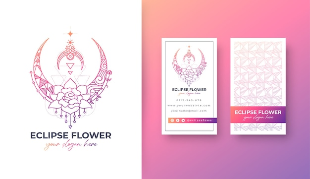 Eclipse цветочный дизайн логотипа с портретной визиткой