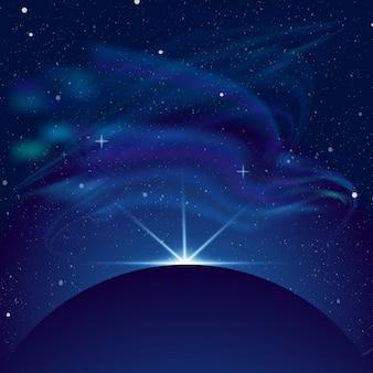 이클립스 일러스트, 밝은 배경의 푸른 광선에 공간에서 행성. 별, 아름다운 별자리와 오로라가 많은 공간.