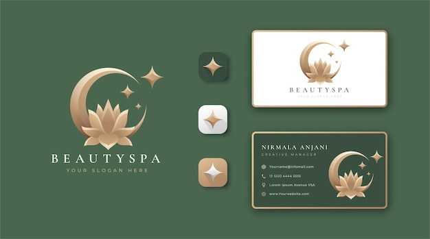 Eclipse lotus flower logo and business card design
