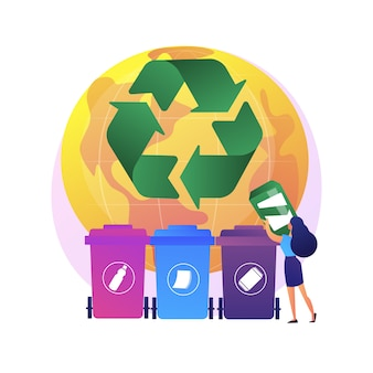 Eco activists sorting garbage. waste segregation. disposable system. ecological responsibility. trash containers, rubbish cans, recycling idea.