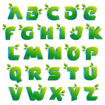 Эко алфавит с зелеными листьями
