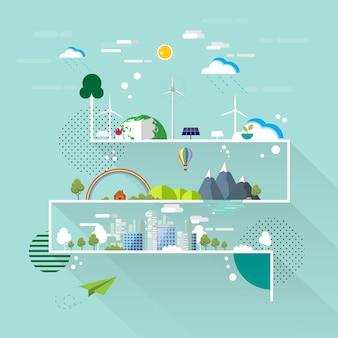 エコと自然のコンセプトフラットラインデザイン