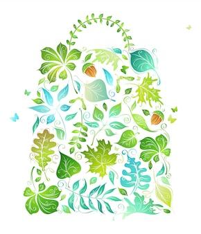 에코 백. 흰색 배경에 고립 된 녹색 잎에서 생태 가방. 삽화.