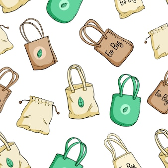 Eco bag or go green bag seamless pattern with colored doodle style