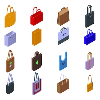 Eco bag icons set