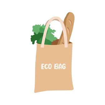 Эко-сумка с хлебом и листьями салата иллюстрации