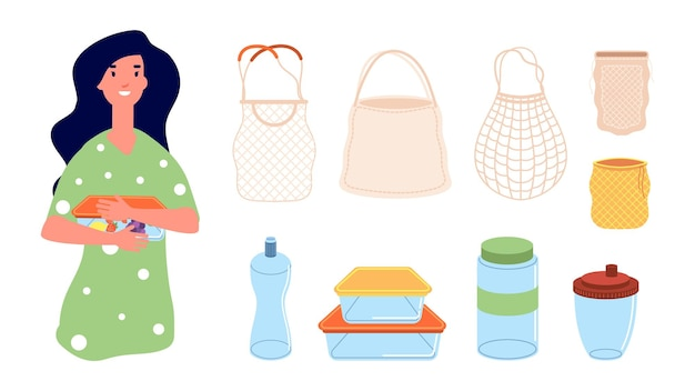 エコバッグ。再利用可能なお弁当を持つ女性。ゼロウェイスト要素、ショッピング用の孤立したテキスタイルパッケージ。食品、マグカップ、ボトルのベクトル図のコンテナ。ゴミ袋ゼロの女性