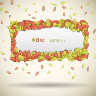 Eco banner with colorful leaves frame flat
