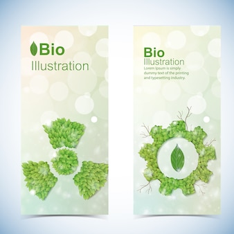 Eco banners set with bio power symbols isolated