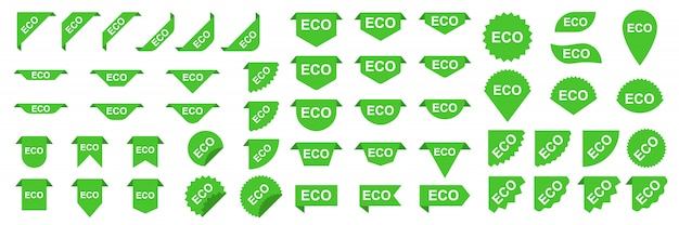 Eco banners or stickers. green ecology labels