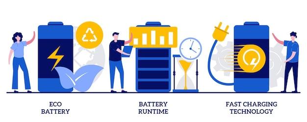 에코 배터리, 배터리 런타임, 작은 사람들과의 빠른 충전 기술 개념. 충전식 배터리 추상적인 벡터 일러스트 레이 션을 설정합니다. 혁신적인 에코 디자인, 긴 배터리 수명, 빠른 충전 비유.