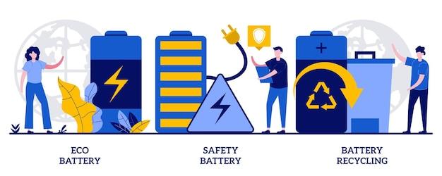 에코 배터리, 안전 배터리, 작은 사람들을 위한 배터리 재활용 개념. 재활용 가능한 축 압기, 전기 에너지 전원 생태 활용 추상적 인 벡터 일러스트 레이 션 세트.