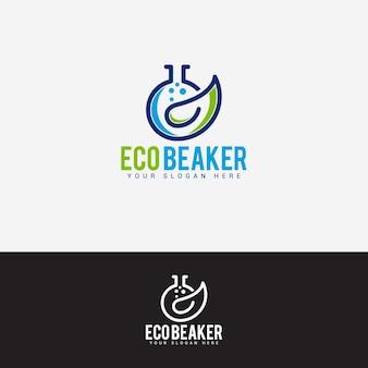 Eco beaker logo design vector template