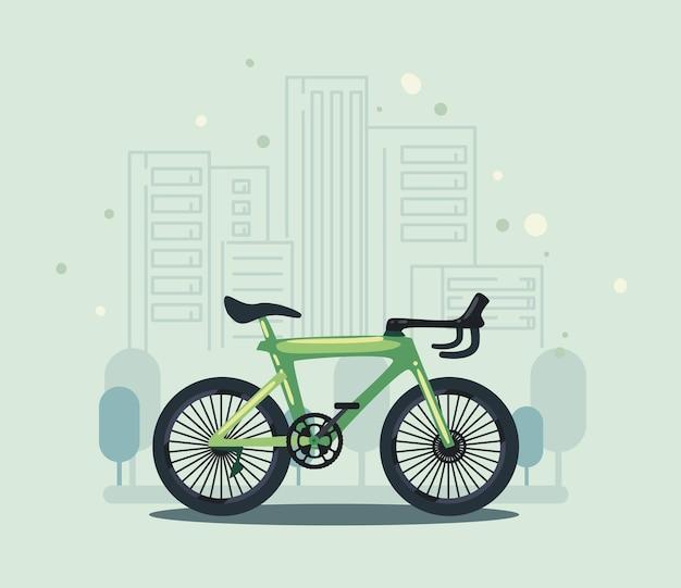 街のシーンでエコ自転車