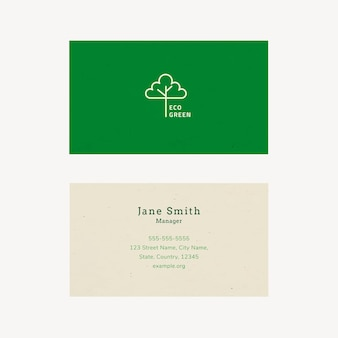 Eco business card template vector with line art logo in earth tone