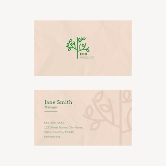 Eco business card template  with line art logo in earth tone