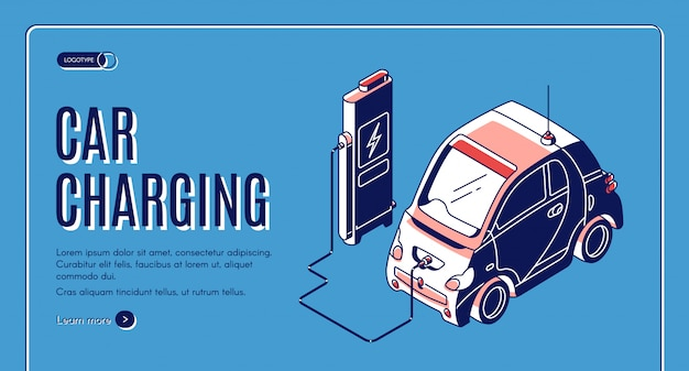 Eco car charging isometric banner Free Vector