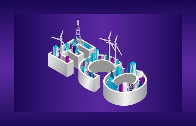 エコシティコンセプト。代替エネルギー源、エコ碑文の形をした最新技術。都市の都市景観における省エネ。ソーラーパネル、風車タービン。