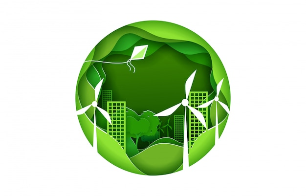 Eco city concept poster in paper art origami style.green town with wind power turbines. round sign.