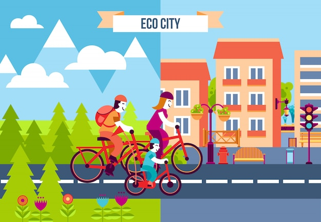 Eco city decorative icons
