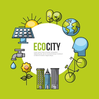 Eco city ecological related icons image