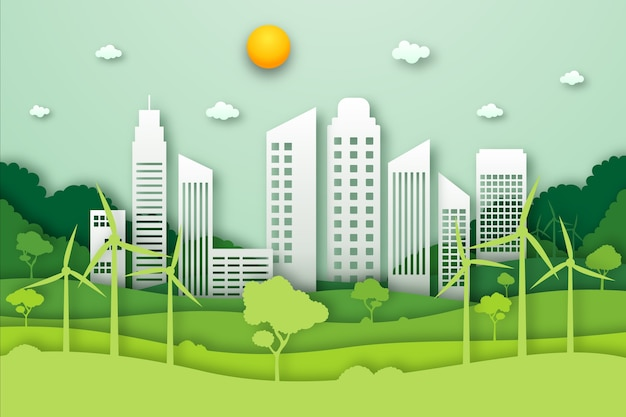 Эко город экологическая концепция в стиле бумаги