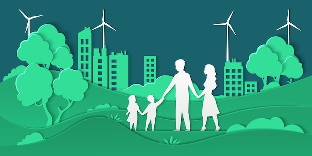 Eco city and family. paper cut smart city with green energy ecosystem and happy family, friendly ecology concept. vector paper illustrations environment, shapes family in origami cut background nature
