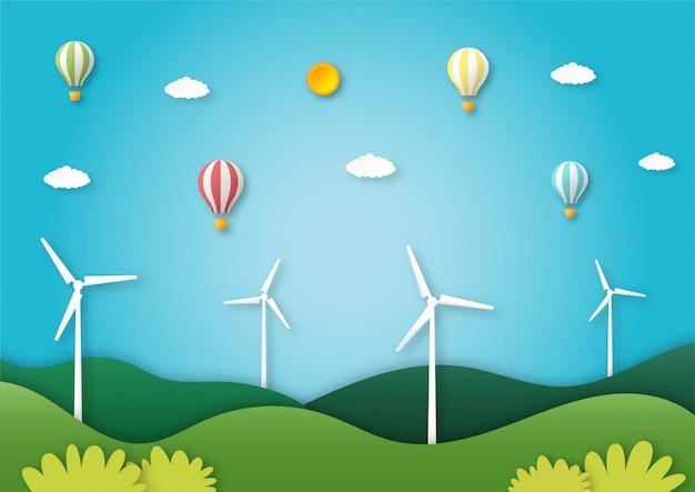 Эко городской пейзаж с воздушным шаром летающих бумаги художественный стиль.