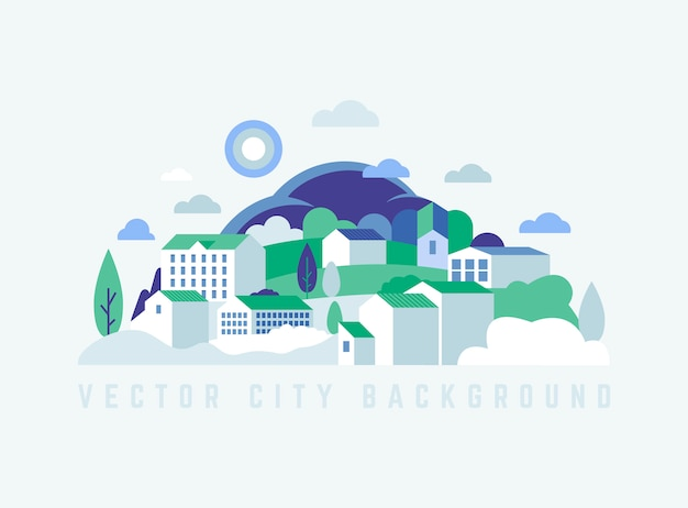 Eco city landscape with buildings, hills and trees