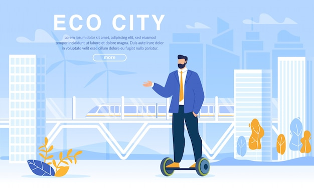 Eco city life and businessman riding hoverboard web template