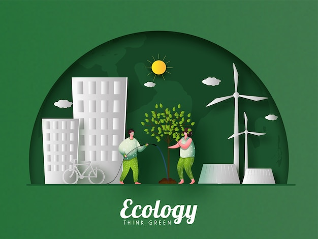 Eco city view with gardening man and woman on green paper cut half circle or globe background for ecology think concept.