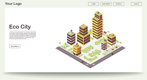 Eco city webpage vector template with isometric illustration landing page
