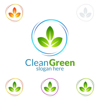 Eco cleaning service logo design with ecology and circle