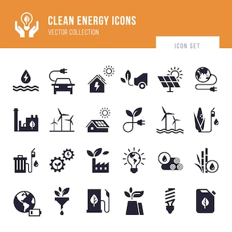 Eco collection with various icons on the theme of ecology and green energy.