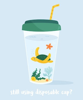 Eco concept poster with marine turtle in coffee cup. environment protection. stop ocean pollution.