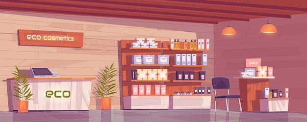 Eco cosmetics shop with natural products for makeup, skincare and perfume in showcase.