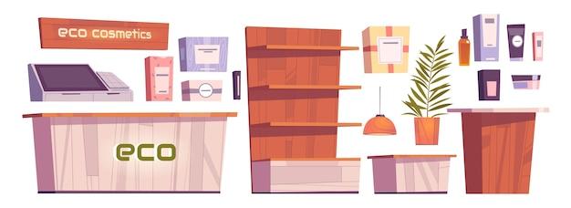 エコ化粧品店のインテリアや家具、ボディケアビューティーショップの化粧品ボトル、木製のショーケースの棚、レジの机、コンピューター、看板。女性のための自然グッズ漫画ベクトルセット