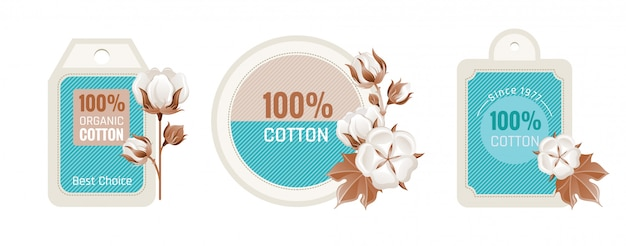 Eco cotton label design set.