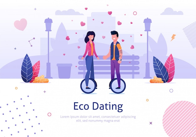 Eco dating and man woman ride monocycle in park